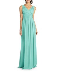 Donna Morgan Shirred V Neck Gown Beach Glass