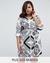 Ax Paris Plus Shirt Dress In Scarf Print Black White