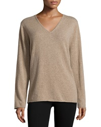 Neiman Marcus Cashmere Rolled Trim V Neck Sweater Dark Natural