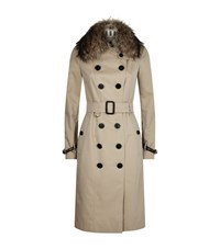 Burberry Sandringham Fur Trim Extra Long Trench Coat Female Beige