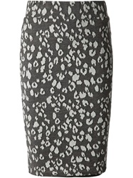 Fleur Du Mal Leopard Intarsia Pencil Skirt Grey