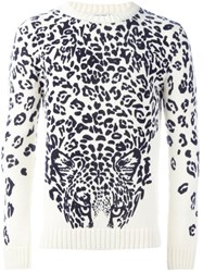 Saint Laurent Panther Print Jumper White