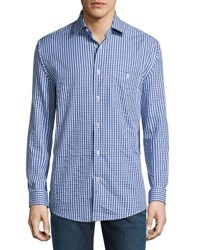 Neiman Marcus Classic Fit Non Iron Check Sport Shirt Blue