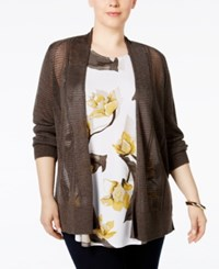 Alfani Plus Size Multi Stitch Textured Cardigan Only At Macy's Urban Olive