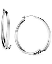 Calvin Klein Beyond Silver Tone Stainless Steel Hoop Earrings Kj3ume000100