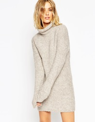 Asos Tunic In Boucle Knit With Funnel Neck Mink