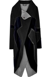Just Cavalli Velvet Paneled Wool Coat Black