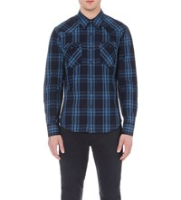 Levi's Barstow Western Checked Cotton Shirt Indigo Plaid