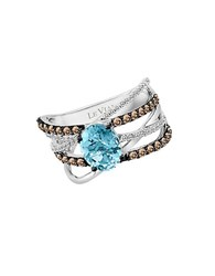 Le Vian Chocolatier Vanilla Diamond Chocolate Diamond Aquamarine And 14K White Gold Ring 0.75 Tcw Blue