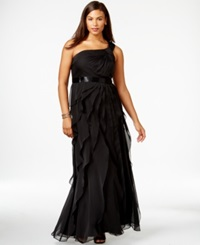 Adrianna Papell Plus Size One Shoulder Tiered Chiffon Gown