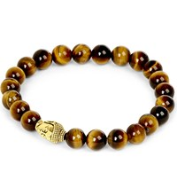 Nialaya 18Ct Gold Plated Sterling Silver And Tiger Eye Bracelet Brown