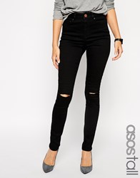 Asos Tall Ridley High Waist Skinny Jean With Ripped Knee Black