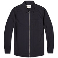 Our Legacy Zip Shirt Jacket Navy Dry Wool Satin