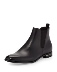Prada Saffiano Leather Chelsea Boot Black