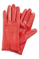 Fownes Bros Knit Cuff Leather Gloves Red
