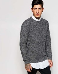 Only And Sons Crew Neck Jumper In Mixed Yarns Darkgreymarl