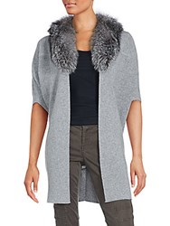 Cashmere Saks Fifth Avenue Fur Collar Vest Grey
