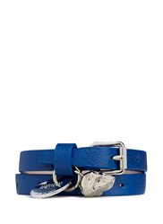 Alexander Mcqueen Double Wrap Skull Leather Bracelet Blue