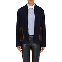 Harvey Faircloth Women's Faux Fur Pocket Jacket Navy