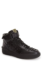 Valentino Studded High Top Sneaker Men Black Leather