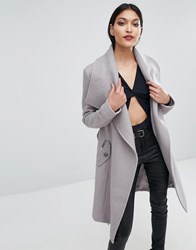 Lipsy Wrap Front Coat Grey