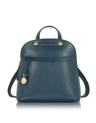 Furla Piper M Embossed Leather Backpack Petrol