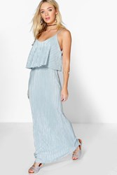 Boohoo Double Layer Crinkle Maxi Dress Grey