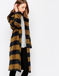 Helene Berman Mustard Shadow Check Coat With Oversized Collar Yellow Black
