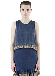 Voz Cropped Dip Dye Fringed Tank Top Navy