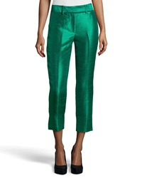 Missoni Cropped Dupioni Ankle Pants Emerald