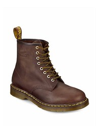 Dr. Martens Distressed Leather Combat Boots Brown