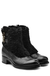 Rupert Sanderson Leather Ankle Boots With Fur Black