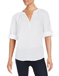 Lord And Taylor Petite Textured Cotton Top White