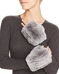Magaschoni Fingerless Fur And Cashmere Gloves Silver Mouline