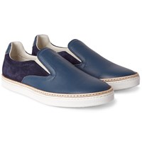 Maison Martin Margiela Leather And Suede Slip On Sneakers Storm Blue
