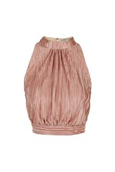 Pleated High Neck Top By Love Rose