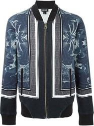 Just Cavalli Printed Jersey Bomber Jacket Blue