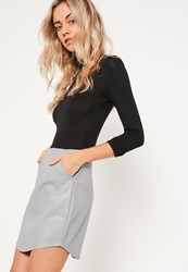 Missguided Grey Curve Hem Zip Back Faux Leather Skirt