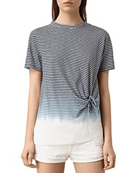 Allsaints Ashley Ombre Striped Knot Tee Ink Blue Chalk White