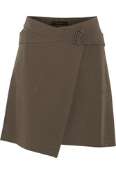 Belstaff Ryder Stretch Cotton Twill Wrap Mini Skirt Green