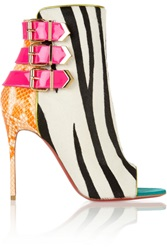 Christian Louboutin Triboclou 100 Zebra Print Calf Hair And Python Ankle Boots