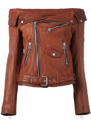 Faith Connexion Off The Shoulder Biker Jacket Brown