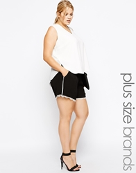 Carmakoma Colour Block Short With Lace Hem Blackcream
