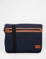 Asos Satchel In Navy Canvas With Front Zip Pocket Blue