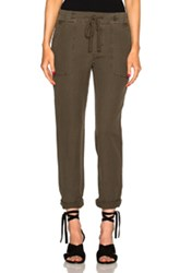 James Perse Slip Linen Trouser Pants In Green