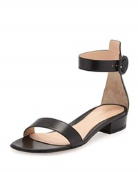 Gianvito Rossi Portofino Leather Ankle Wrap Sandal Black