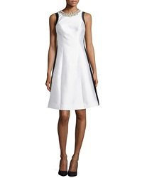 Rickie Freeman For Teri Jon Beaded Neck Colorblock Fit And Flare Cocktail Dress