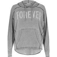 River Island Womens Grey Burnout 'Forever' Print Hoodie