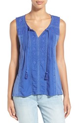 Women's Lucky Brand Tassel Tie Mixed Media Tank Dazzling Blue