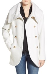 Women's Jessica Simpson Double Breasted Basket Weave Coat Off White